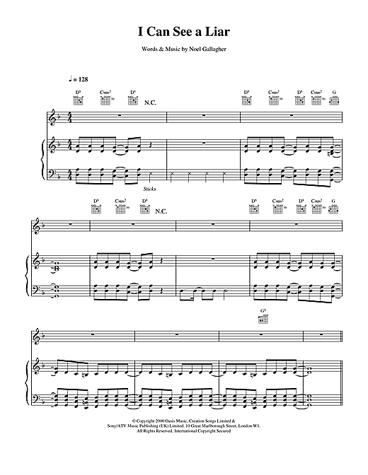 Oasis I Can See A Liar sheet music notes and chords