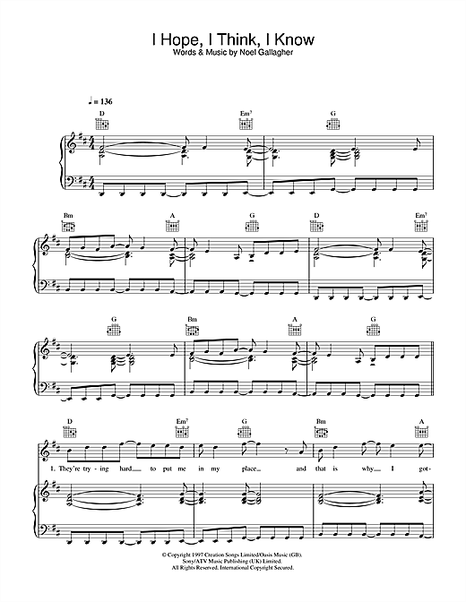 Oasis I Hope, I Think, I Know sheet music notes and chords. Download Printable PDF.