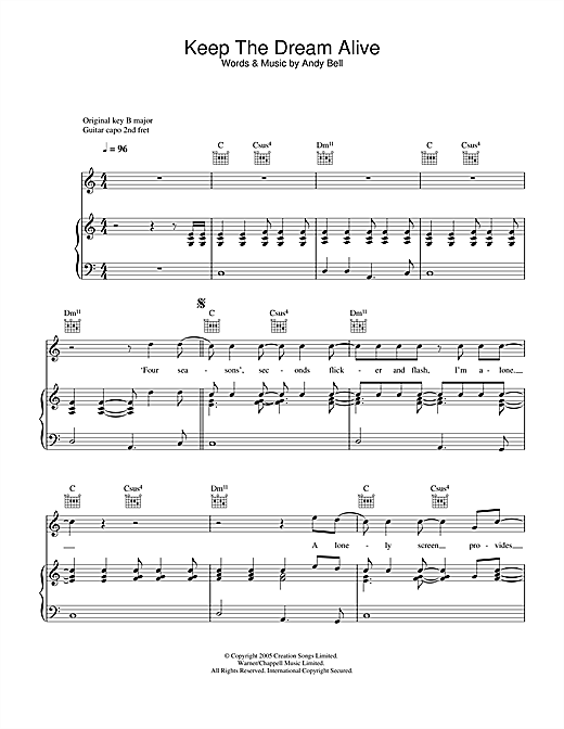 Oasis Keep The Dream Alive sheet music notes and chords