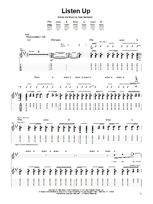 Oasis Listen Up sheet music notes and chords. Download Printable PDF.