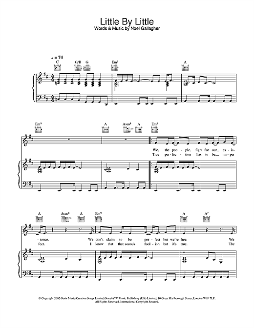 Oasis Little By Little sheet music notes and chords. Download Printable PDF.