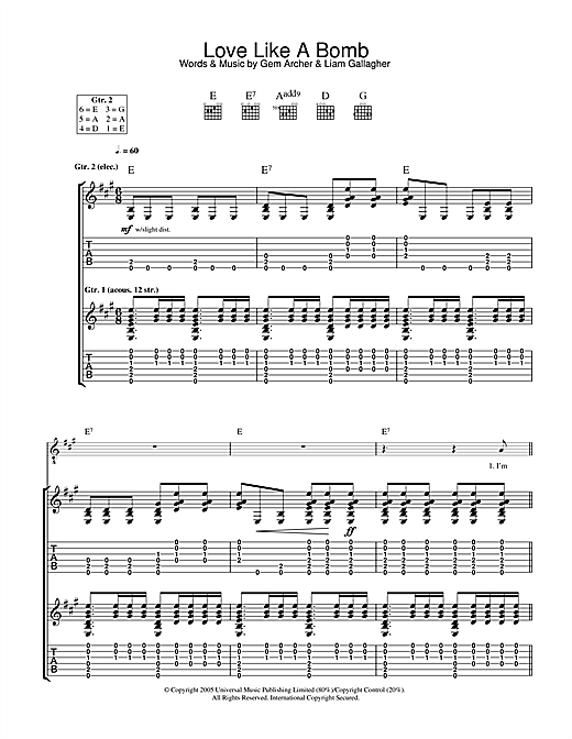 Oasis Love Like A Bomb sheet music notes and chords