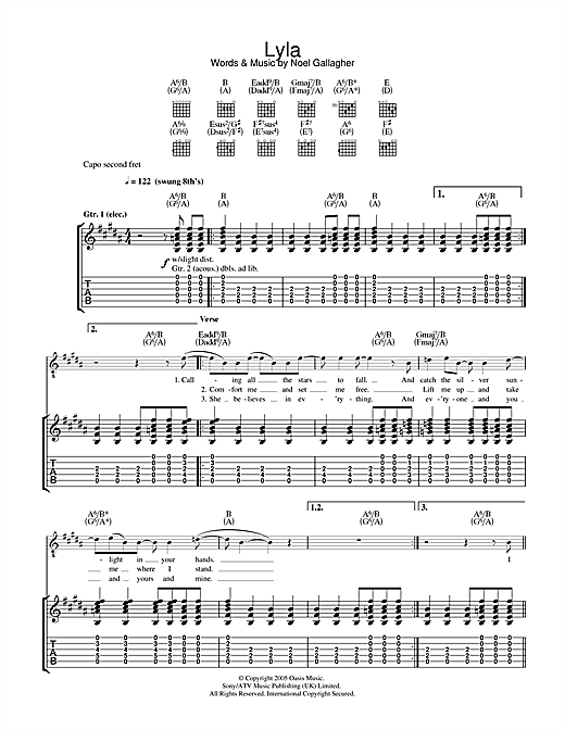Oasis Lyla sheet music notes and chords