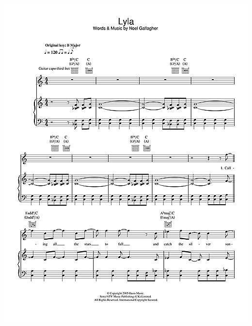 Oasis Lyla sheet music notes and chords. Download Printable PDF.