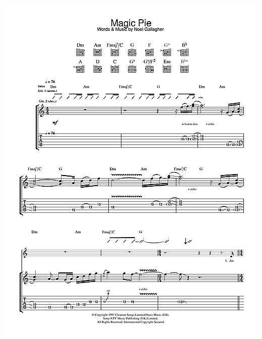 Oasis Magic Pie sheet music notes and chords. Download Printable PDF.