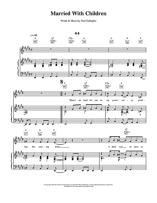 Oasis Married With Children sheet music notes and chords