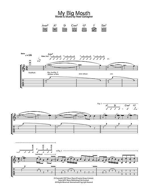 Oasis My Big Mouth sheet music notes and chords. Download Printable PDF.