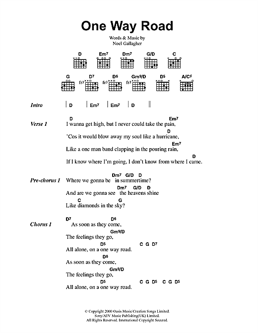 Oasis One Way Road sheet music notes and chords