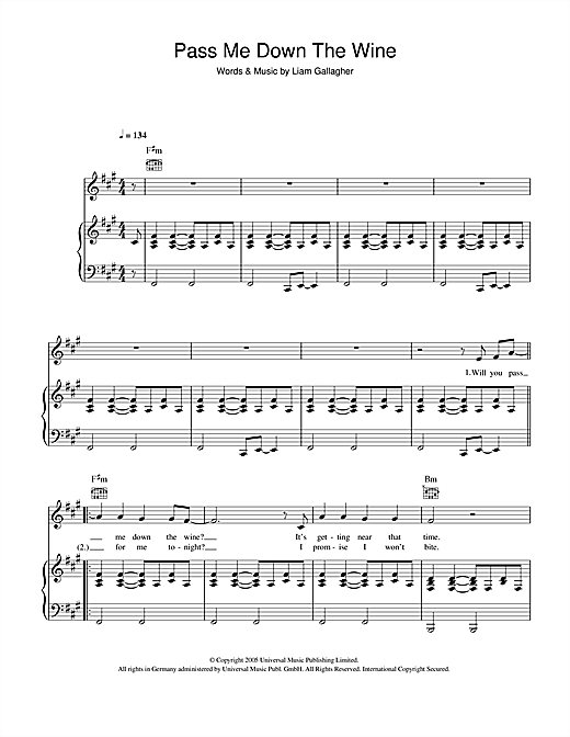 Oasis Pass Me Down The Wine sheet music notes and chords