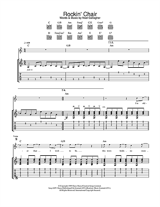 Oasis Rockin' Chair sheet music notes and chords. Download Printable PDF.