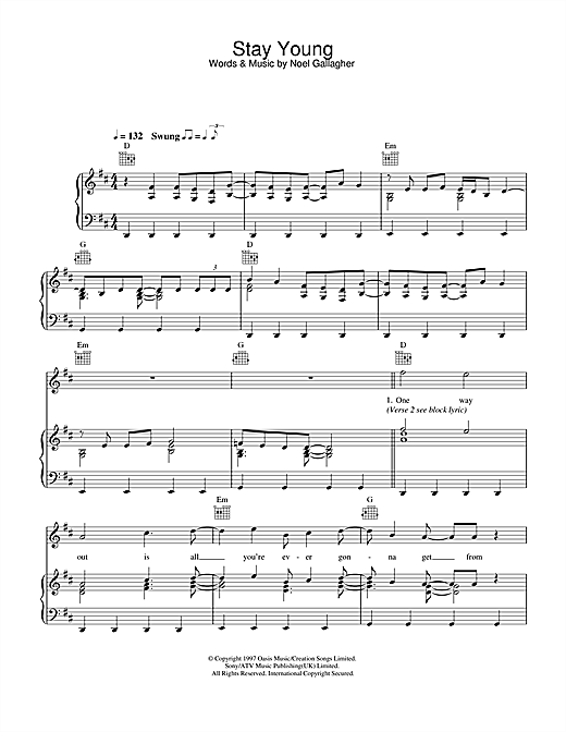 Oasis Stay Young sheet music notes and chords. Download Printable PDF.