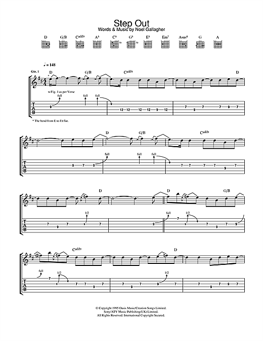 Oasis Step Out sheet music notes and chords. Download Printable PDF.
