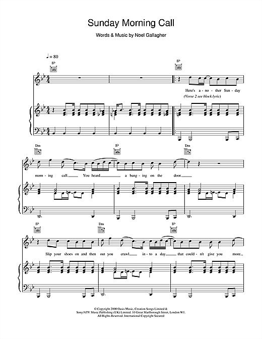 Oasis Sunday Morning Call sheet music notes and chords. Download Printable PDF.