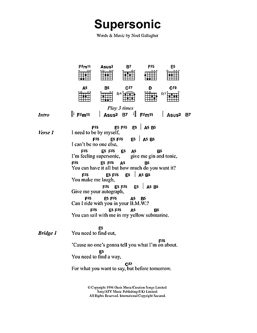 Oasis Supersonic sheet music notes and chords
