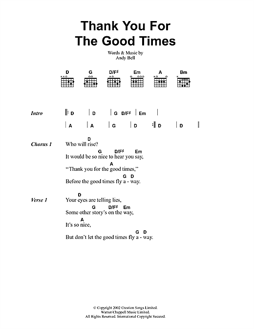 Oasis Thank You For The Good Times sheet music notes and chords