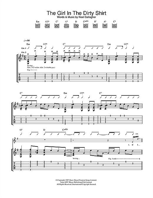 Oasis The Girl In The Dirty Shirt sheet music notes and chords