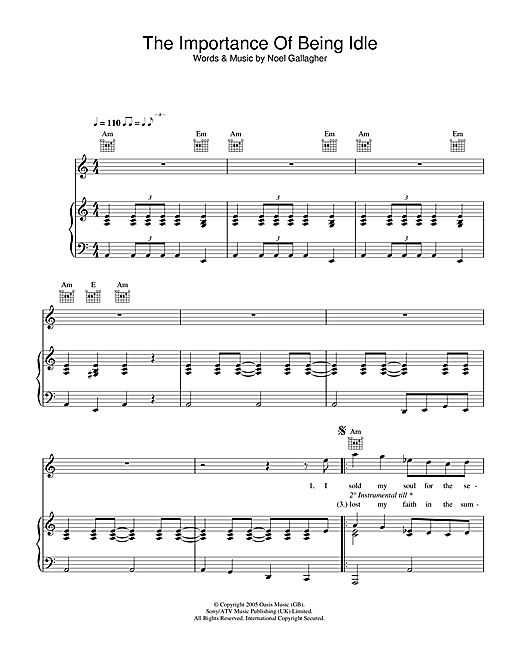 Oasis The Importance Of Being Idle sheet music notes and chords. Download Printable PDF.