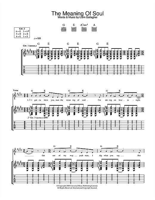 Oasis The Meaning Of Soul sheet music notes and chords