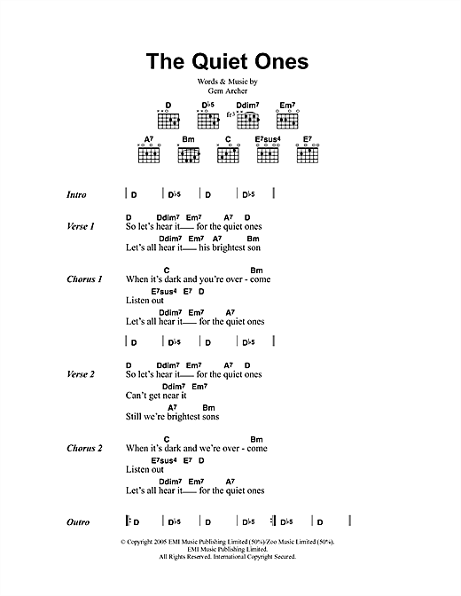 Oasis The Quiet Ones sheet music notes and chords