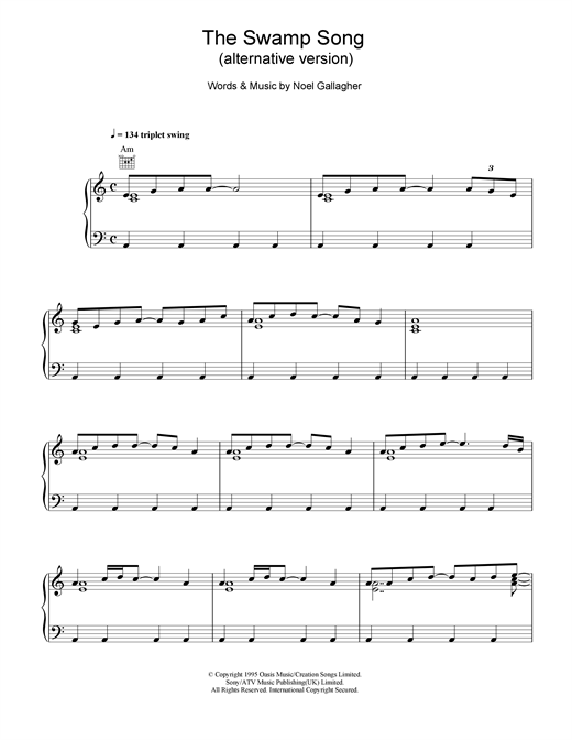Oasis The Swamp Song (alternative version) sheet music notes and chords