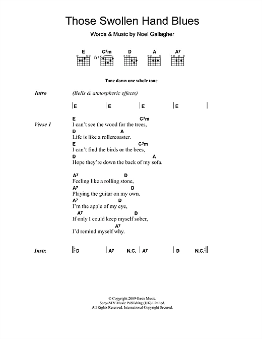 Oasis Those Swollen Hand Blues sheet music notes and chords. Download Printable PDF.