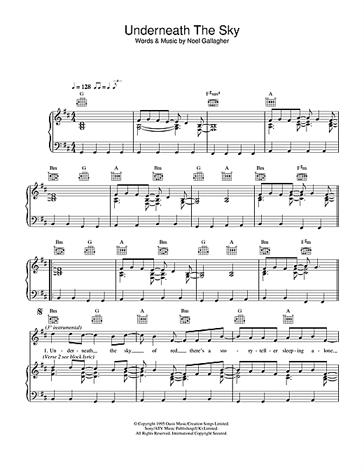 Oasis Underneath The Sky sheet music notes and chords. Download Printable PDF.