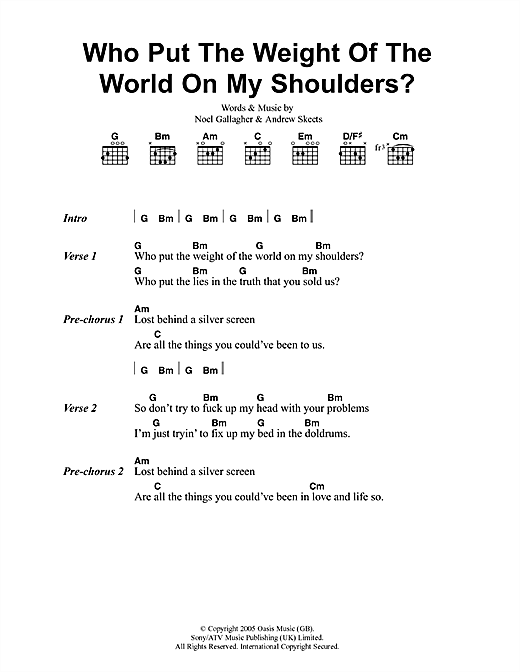 Oasis Who Put The Weight Of The World On My Shoulders? sheet music notes and chords