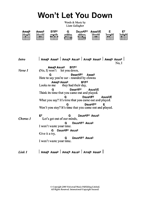 Oasis Won't Let You Down sheet music notes and chords