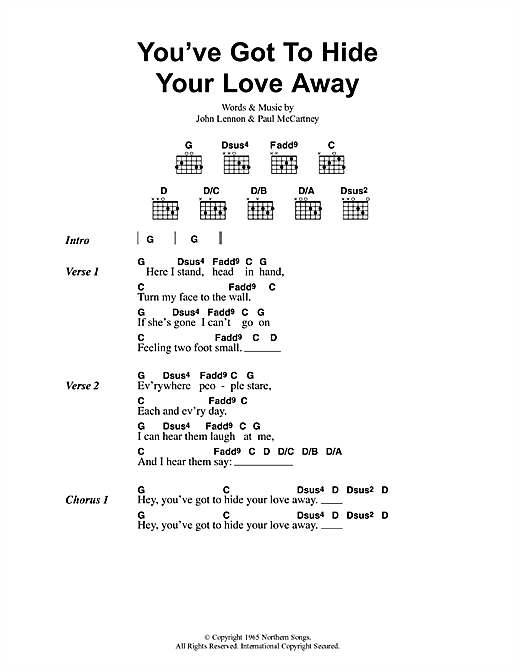 Oasis You've Got To Hide Your Love Away sheet music notes and chords