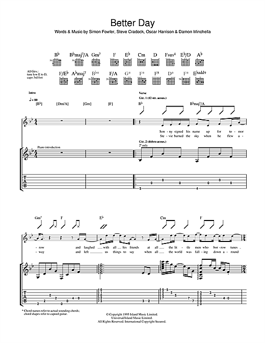 Ocean Colour Scene A Better Day sheet music notes and chords. Download Printable PDF.