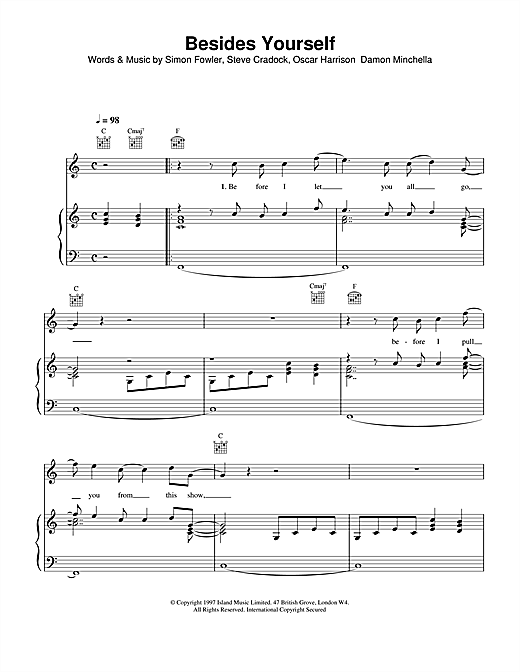 Ocean Colour Scene Besides Yourself sheet music notes and chords
