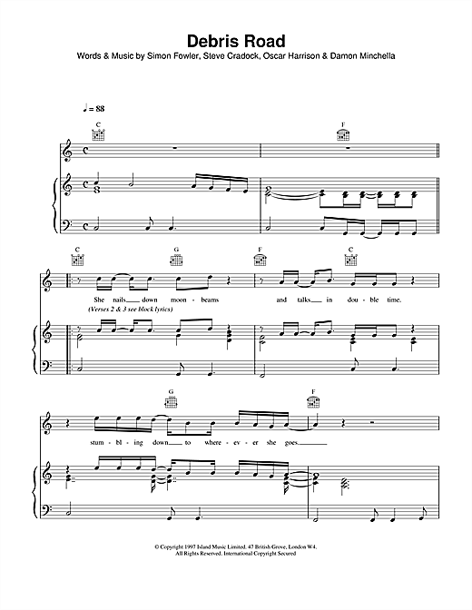 Ocean Colour Scene Debris Road sheet music notes and chords