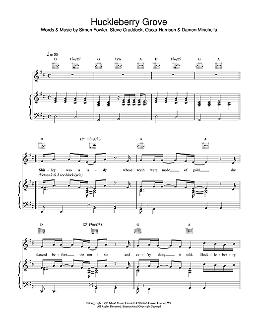 Ocean Colour Scene Huckleberry Grove sheet music notes and chords
