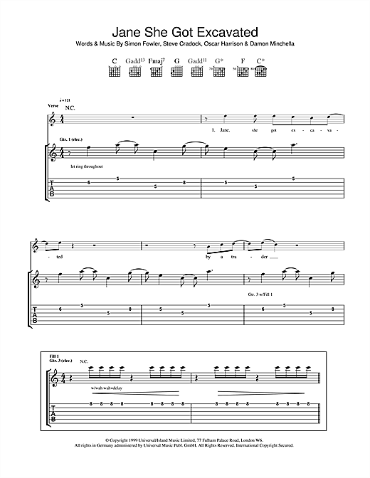 Ocean Colour Scene Jane She Got Excavated sheet music notes and chords. Download Printable PDF.