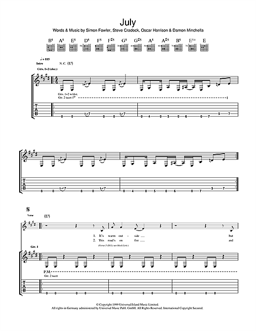 Ocean Colour Scene July sheet music notes and chords. Download Printable PDF.