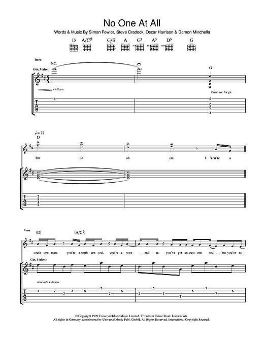 Ocean Colour Scene No One At All sheet music notes and chords. Download Printable PDF.