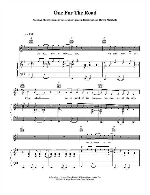 Ocean Colour Scene One For The Road sheet music notes and chords