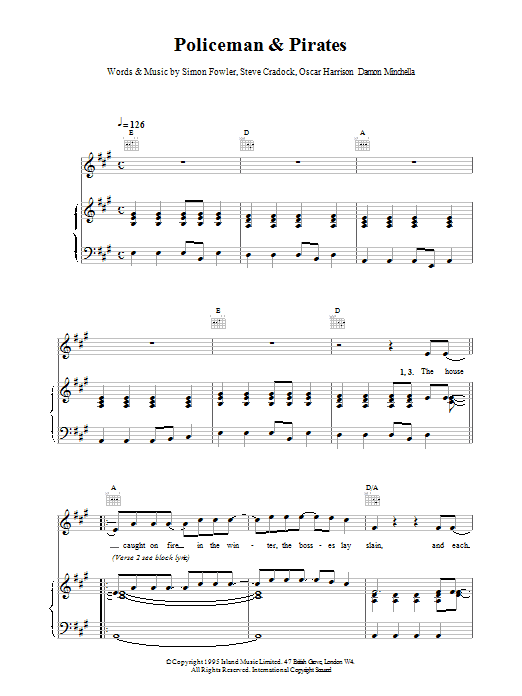 Ocean Colour Scene Policemen And Pirates sheet music notes and chords. Download Printable PDF.