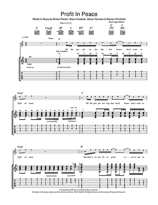 Ocean Colour Scene Profit In Peace sheet music notes and chords. Download Printable PDF.