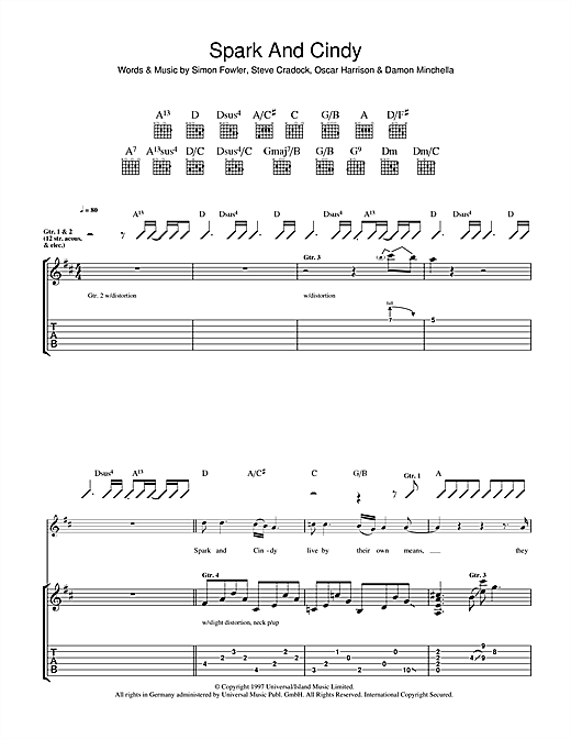 Ocean Colour Scene Spark And Cindy sheet music notes and chords. Download Printable PDF.