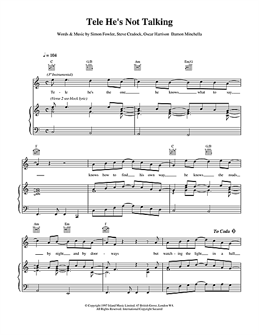 Ocean Colour Scene Tele He's Not Talking sheet music notes and chords. Download Printable PDF.