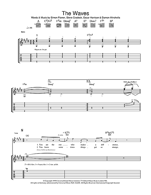Ocean Colour Scene The Waves sheet music notes and chords. Download Printable PDF.