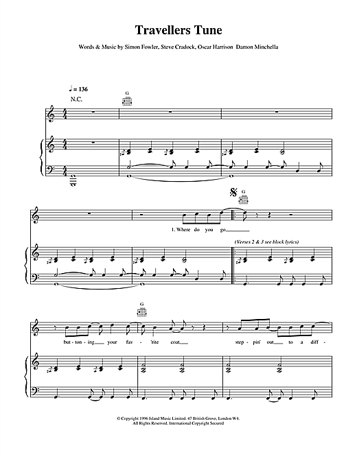 Ocean Colour Scene Travellers Tune sheet music notes and chords. Download Printable PDF.