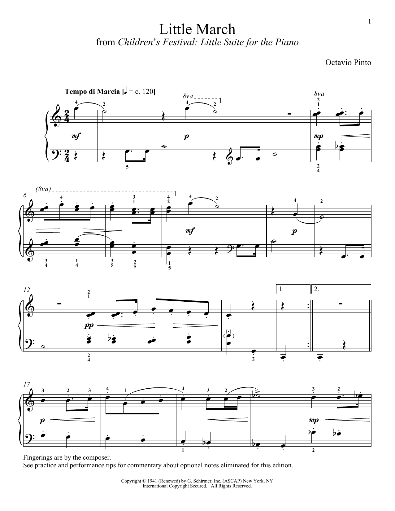 Octavio Pinto Little March sheet music notes and chords