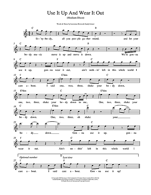 Odyssey Use It Up And Wear It Out sheet music notes and chords. Download Printable PDF.