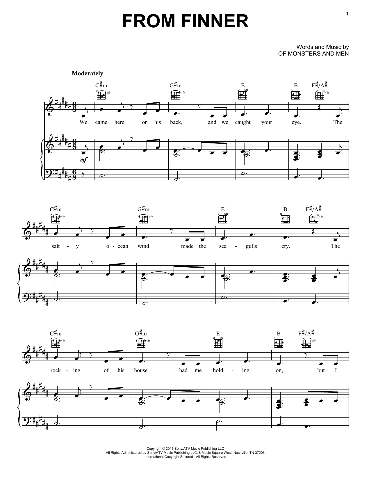 Of Monsters and Men From Finner sheet music notes and chords. Download Printable PDF.