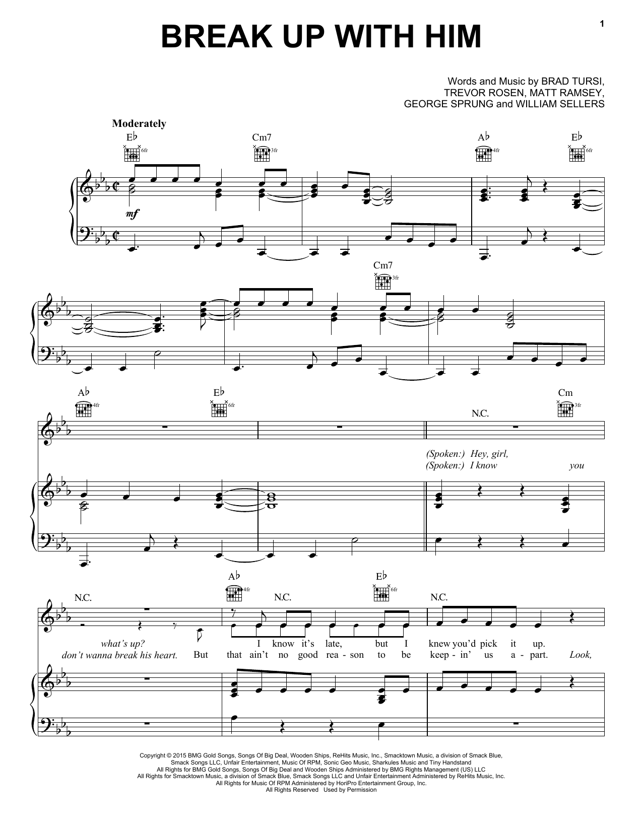 Old Dominion 'Break Up With Him' Sheet Music Notes, Chords | Download  Printable Piano, Vocal & Guitar (Right-Hand Melody) - SKU: 162000