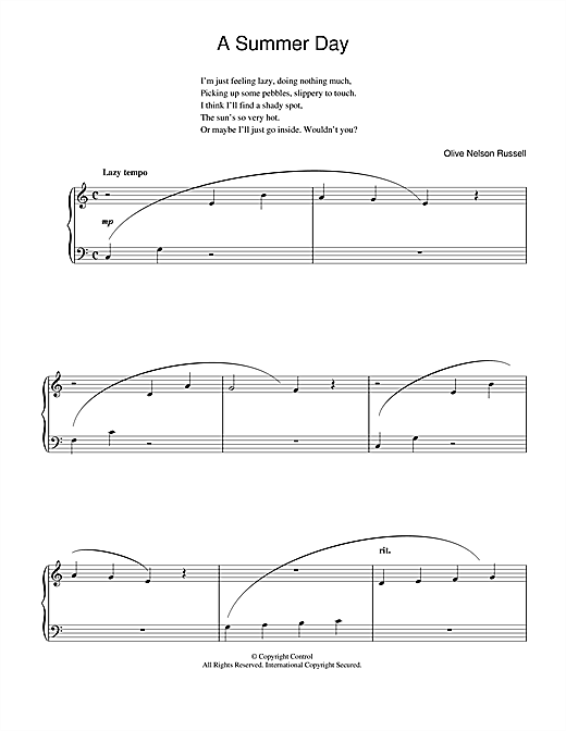 Olive Nelson Russell A Summer Day sheet music notes and chords. Download Printable PDF.
