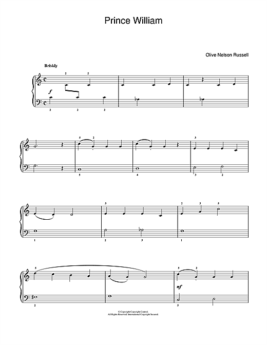 Olive Nelson Russell Prince William sheet music notes and chords. Download Printable PDF.