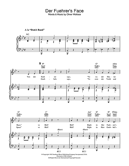 Oliver Wallace Der Fuehrer's Face sheet music notes and chords. Download Printable PDF.